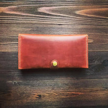 Women's Long Wallet in Glossy Brown Leather - Cantoneri