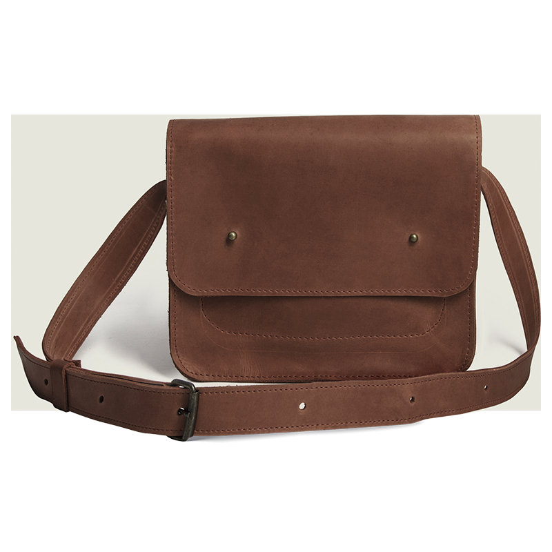 Small Cross Body Bag in Genuine Leather [Cognac] - Cantoneri