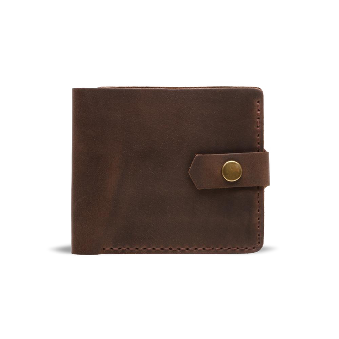 Handmade Bifold Leather Wallet - Dark Brown - Cantoneri