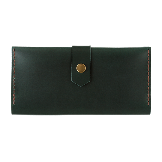 Women's Dark Green Bifold Leather Wallet - Cantoneri