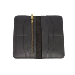 Women's Classic Long Black Leather Wallet - Cantoneri