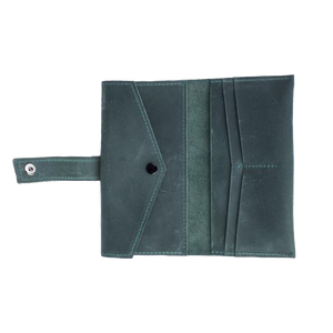 Women's Leather Long Wallet [Green] - Cantoneri