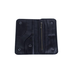 Men's Long Bifold Black Leather Wallet - Cantoneri