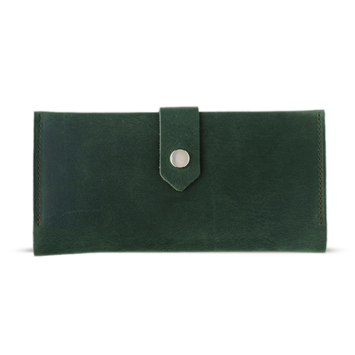 Women's Green Bifold Leather Wallet - 12 compartments - Cantoneri