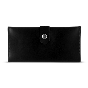 Women's Glossy Black Bifold Leather Wallet - 12 compartments - Cantoneri