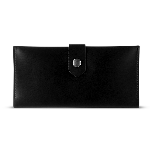 Women's Glossy Black Bifold Leather Wallet [USA only] - Cantoneri