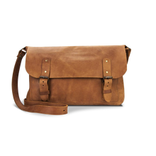 Men's Genuine Leather Bag - Cognac - Cantoneri