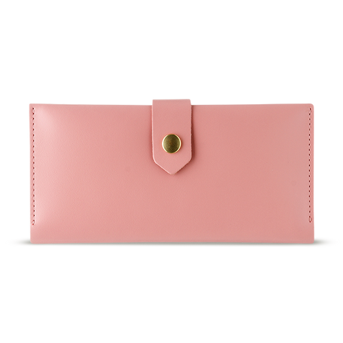 Women's Glossy Pink Bifold Leather Wallet - 12 compartments - Cantoneri