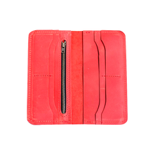 Women's Classic Long Red Leather Wallet - Cantoneri