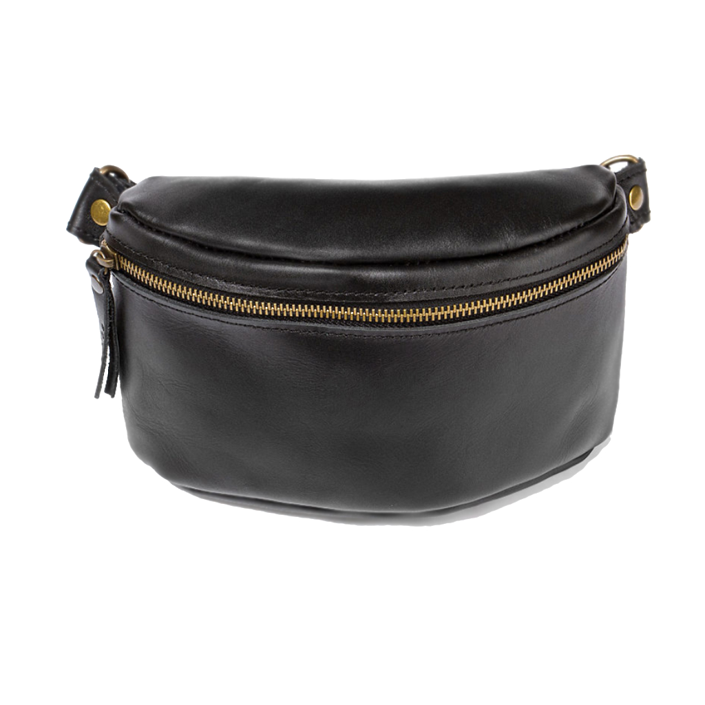 Women's Black Leather Hip Bag - Cantoneri
