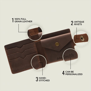 Bifold Leather Wallet [Dark Brown] - Cantoneri