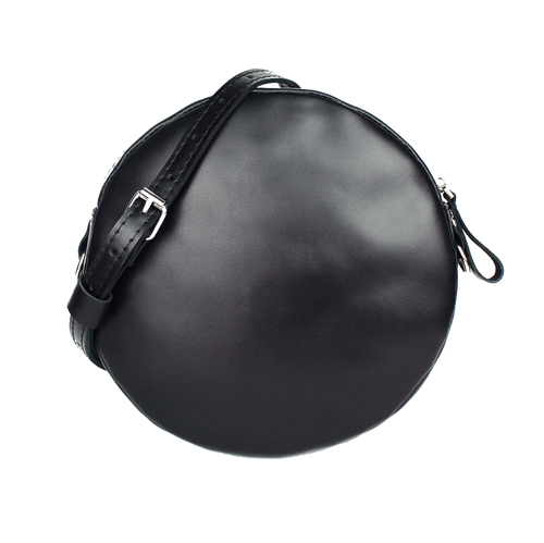 Glossy Black Leather Circle Bag - Cantoneri