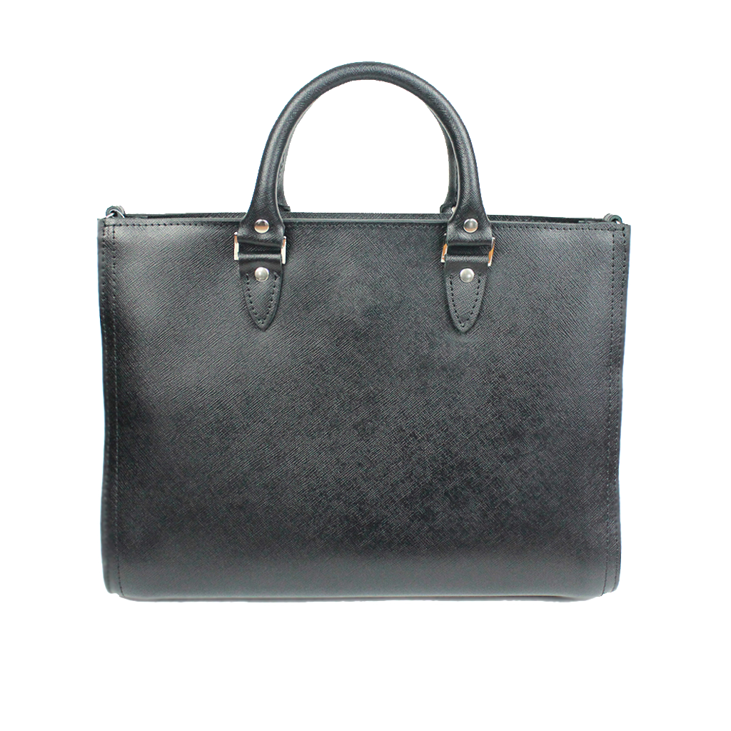 Black Saffiano Leather Top Handle Bag - Cantoneri