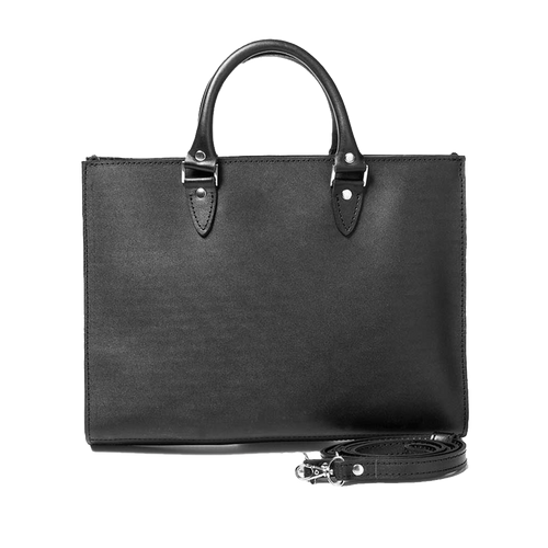 Black Leather Top Handle Bag - Cantoneri