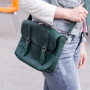 Genuine Leather Cross Body Bag [Green] - Cantoneri