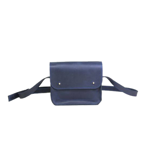 Small Cross Body Bag in Blue Full Grain Leather - Cantoneri