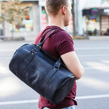 Stylish Handmade Leather Bag - Black | Genuine Leather Bag | Black Leather Bag | Gym Bag - Cantoneri