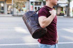 Black Leather Duffel Bag - Cantoneri