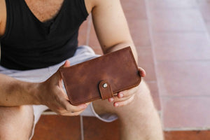 Men's Long Brown Leather Wallet - Cantoneri