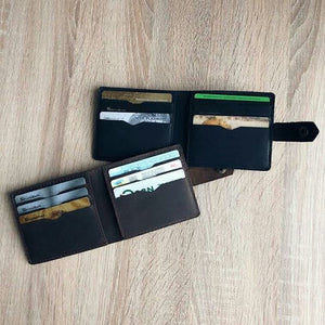 Handmade Minimalistic Leather Wallet 8 slots for cards | Slim Wallet for men | Mens Wallet | Gift For Him | Gift For Dad | Birthday Gift - Cantoneri