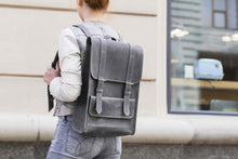 Grey Leather Backpack with Strap Closures - Cantoneri
