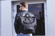 Black Convertible Leather Backpack / Bag - Cantoneri