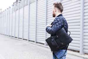 Blue Leather Backpack with Strap Closures - Cantoneri