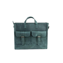 Handmade Leather Green Briefcase - Cantoneri