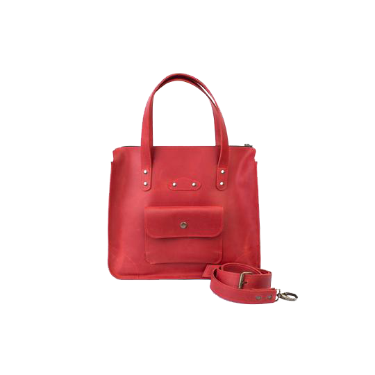 Women's Red Leather Tote Handbag - Cantoneri