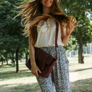 Genuine Leather Cross Body Bag [Marsala] - Cantoneri