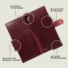 Women's Glossy Marsala Bifold Leather Wallet - 12 compartments - Cantoneri