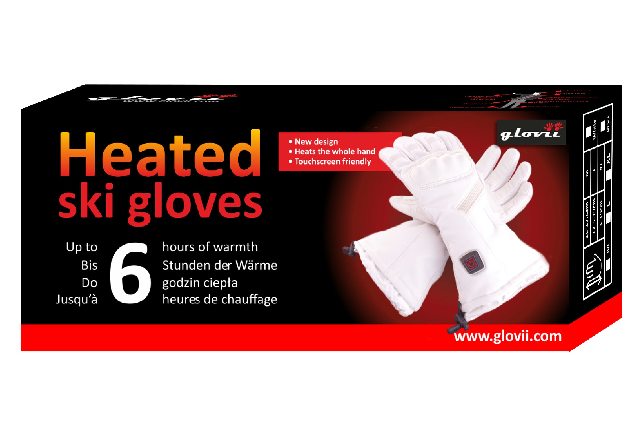 Heated Ski Gloves - White