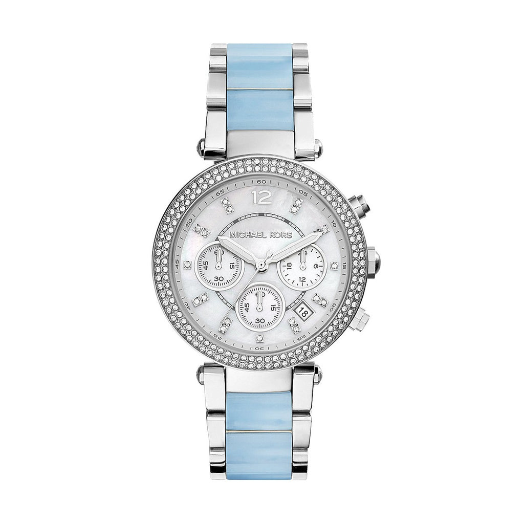 Michael Kors MK6138 Ladies Silver/Blue Chronograph Quartz Watch