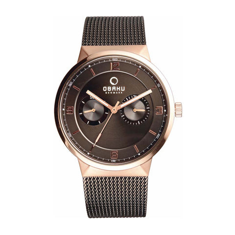 Obaku V170GMVBMB Men's Brown Multi-Function Watch