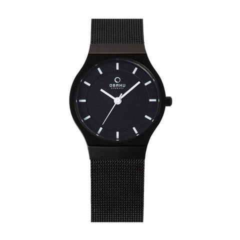 Obaku V123LBBMB Ladies Black Mesh Watch