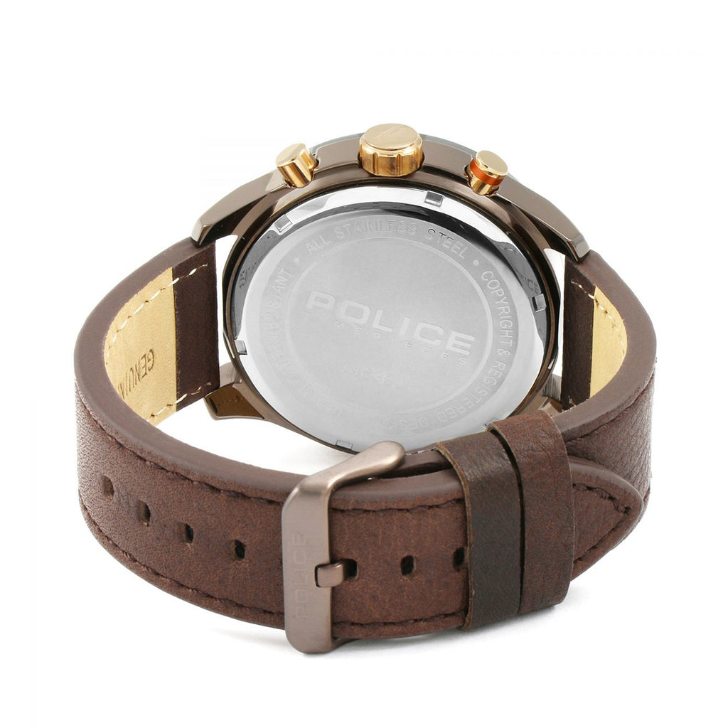 Police 14639JSBZU/61 Men's Brown Leather Watch