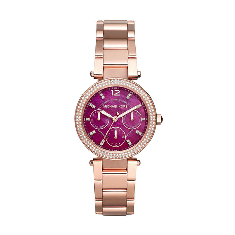 Michael Kors MK6403 Purple Dial PVD Rose Gold Ladies Watch