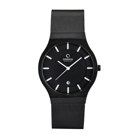Obaku V123GDBBMB Men's Silver Mesh Strap Watch