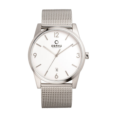 Obaku V169GDCIMC Men's Silver Mesh Strap Watch