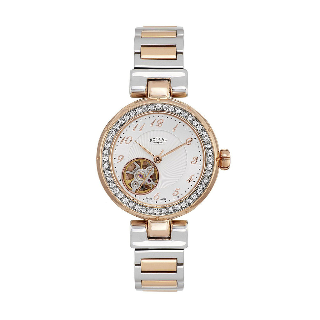 Rotary LB001-A-22 Ladies' Automatic Silver / Rose Gold Watch