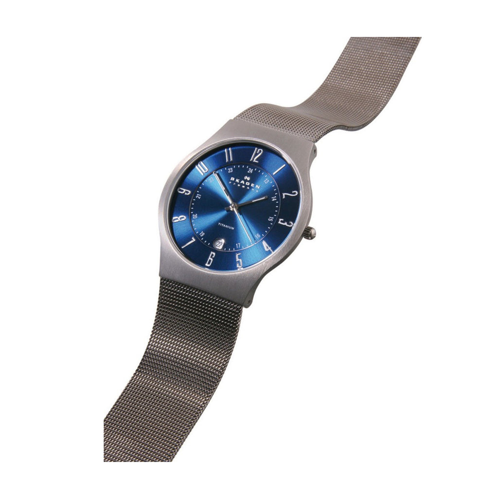 Skagen 233XLTTN Men's Grenen Titanium Blue Dial Watch