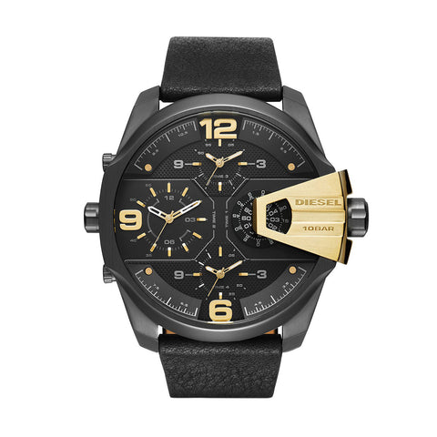 Diesel DZ7377 Men's Uber Chief Black Leather Quartz Watch