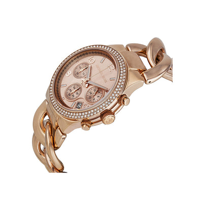 Michael Kors MK3247 Chronograph Rose Gold Twisted Chain Ladies Watch