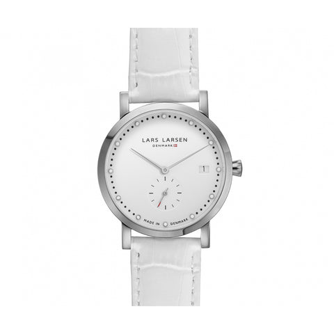 Lars Larsen 137SWWL Emma Ladies White Leather Watch