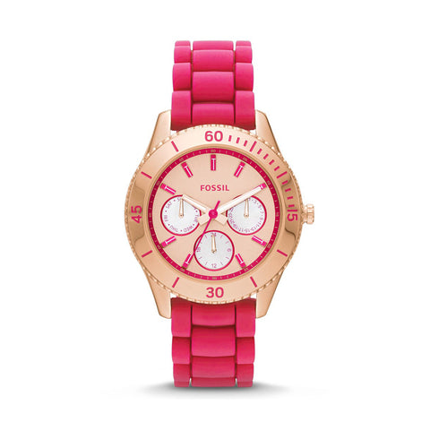 Fossil ES3535 Ladies Stella Pink Rubber/Silicon Strap Watch