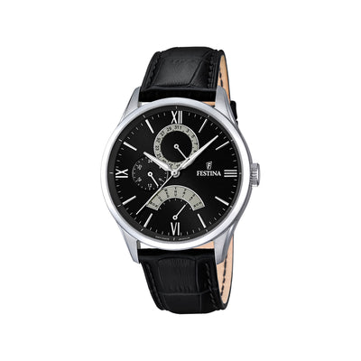 Festina F16823/2 Mens Black Leather Multi-Function Watch