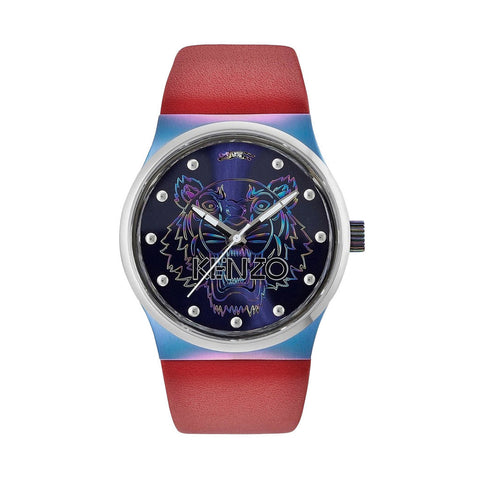 Kenzo K0024004 Red Leather Strap Men's Watch