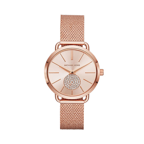 Michal Kors MK3845 Ladies Portia Rose Gold Mesh Strap Watch