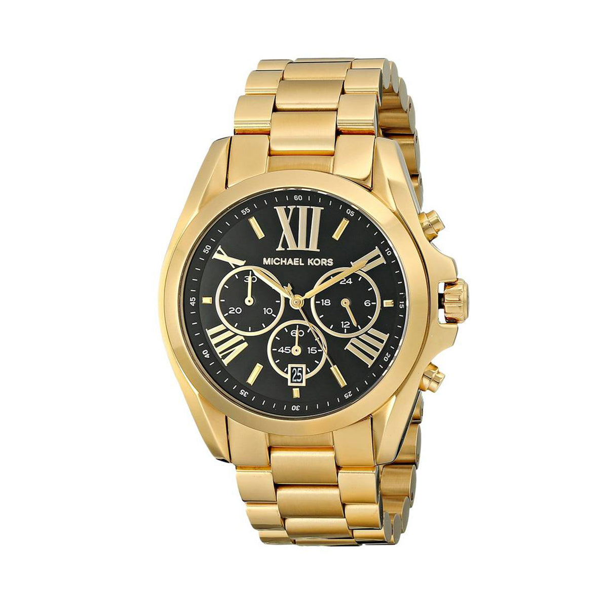 6ad8b6c7d Michael Kors MK5739 Bradshaw Chronograph Black Dial Gold tone Ladies Watch