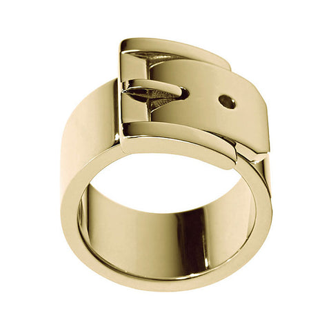 Michael Kors MKJ1994710M Ladies Wide Buckle Gold Tone Ring- Size M